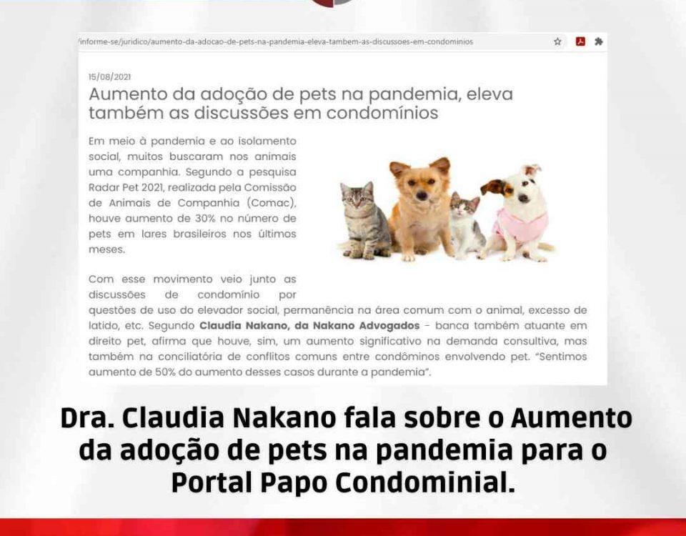 Aumento da adoção de pets na pandemia para o Portal Papo Condominial